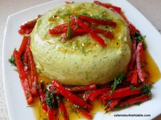 Broad beans puree with dill and sauteed peppers in olive oil; a delicious dip