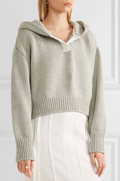 Adeam - Cropped Cotton And Cashmere-blend Hooded Sweater - Light gray - medium