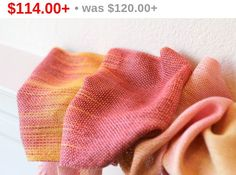 Hand woven scarf made in pooling technique. This means that color is gradually changes from red to #yellow and soft #pink color.  Amazing color shades and color variety. Unfo... #kgthreads #rusteam #sunset #homespunsociety #epsteam