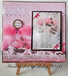 A birthday card made using Hunkydory's Lace in bloom card kit. More details can be found at http://stampingbubbles.blogspot.co.uk/2016/10/birthday-lace-and-flowers.html