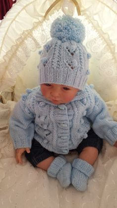 Tommy  Cardigan hat and bootees knitting by Patsbabydreamknits