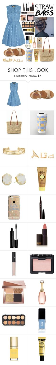 """""""Carry On: Straw Bag"""" by autumnj24 ❤ liked on Polyvore featuring Yumi, Blowfish, Talbots, Stella & Dot, Forever 21, Kendra Scott, Sun Bum, Agent 18, Marc Jacobs and Lipstick Queen"""