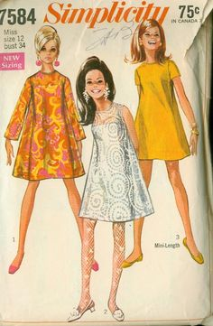 Teen's Dress & Slip Patterns Junior Size 7 Bust 31 Flared Tent Dress W/or W/Out Sleeves and Slip Vintage Simplicity Sewing Pattern 7584 60 Fashion, Fashion History, Retro Fashion, Vintage Fashion, School Fashion, Fashion News, Moda Vintage, Vintage Mode, Vintage Outfits