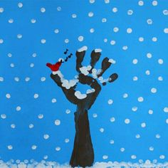 Finger painting: Winter Tree : Winter is here and the trees have lost all their leaves, but their bare branches covered with snow make them beautiful and unique. Here is how to use finger painting to paint a winter tree. Winter Art Projects, Winter Project, Winter Crafts For Kids, Winter Kids, Preschool Winter, Daycare Crafts, Classroom Crafts, Toddler Crafts, Preschool Crafts