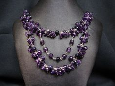 Amethyst and Blue Goldstone necklace. My Wife Is, Studios, Amethyst, Beaded Necklace, Jewelry Design, Blue, Fashion, Beaded Collar, Moda