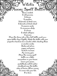 Witch's Money Spell Bottle – Free Printable Spell Pages – Witches Of The Craft® Order your love spells online from Professional Love Spell Caster. Strong Love Spells that work. Powerful Money Spells, Money Spells That Work, Spells That Really Work, Hoodoo Spells, Magick Spells, Jar Spells, Gypsy Spells, Healing Spells, Wiccan Spell Book