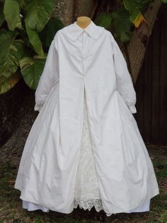 "Original Civil War Era Maternity Wrapper C 1860 Very Large Size   eBay seller sadira335610; crisp white cotton; embroidered; bust: 43""; waist: 31""; skirt length: 36-39.5"""