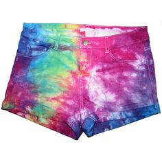 Vibrant Rainbow Tie Dye High Waisted Denim Shorts ($32) ❤ liked on Polyvore featuring shorts, black, women's clothing, tie-dye shorts, high rise jean shorts, high rise shorts, stretch jean shorts and black shorts