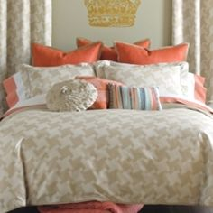 Houndstooth in tan and coral. Love the color combo... Tan, cream, and coral.