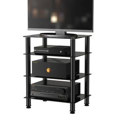 audio tower Fitueyes 4 tier TV Media stand entertainment center for TV Component Stand Audio Cabinet with Glass Shelf for Apple Tv xbox One Audio Components Rack AV Tower Media Stand Electronics Equipment Shelving Unit Tempered Glass Door, Tempered Glass Shelves, Audiophile, Hifi Regal, Consoles, Audio Rack, Glass Tv Stand, Tv Entertainment Centers, Tv Stand Console