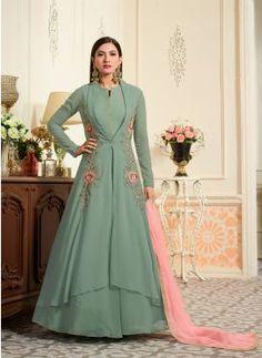Dusty Green Faux Georgette Anarkali Suit sku:418103