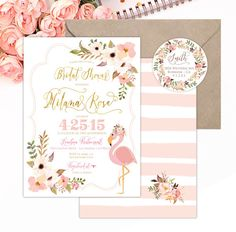 Printable invitations - bridal shower invitation - flamingo invitation - watercolor invitation - floral invitation - freshmint paperie