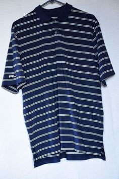 RLX Ralph Lauren Striped Golf Shirt Mens Size L Blue white Green Large Polo  #RalphLauren #PoloRugby