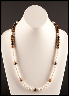 White Freshwater Pearl and Tigers Eye Spectator Necklace Tiger Eye Beads, White Freshwater Pearl, Creamy White, Tigers, Fresh Water, Pearl Necklace, Necklaces, Pearls, Sterling Silver