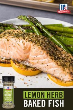 Looking for an easy weeknight meal? Shake, bake, and devour this lemon herb baked fish in no time at all. All Purpose Seasoning Blends make mealtime easy! Salmon Recipes, Fish Recipes, Seafood Recipes, Great Recipes, Cooking Recipes, Healthy Meal Prep, Healthy Eating, Healthy Recipes, Healthy Food