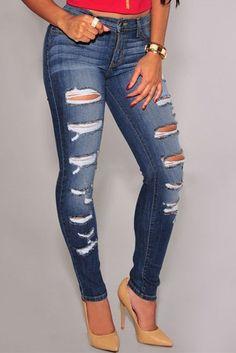 Blue Denim Destroyed Skinny Jeans