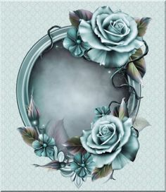 "Photo from album ""Голубое настроение"" on Yandex. Decoupage Vintage, Decoupage Paper, Vintage Paper, Flower Frame, Flower Art, Framed Wallpaper, Borders And Frames, Scrapbook Embellishments, Floral Border"