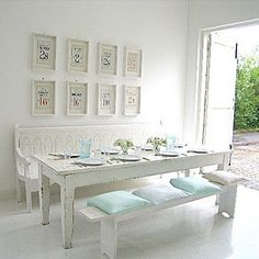 white dining bench. I Love Benches In The Kitchen And Dining Areas. Maybe It Dates Back To My White Bench B