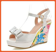 Sfnld Women's Sweet Bowknot Rhinestone Floral Peep Toe Ankle Strap Platform Wedge High Heels Sandals White 7 B(M) US - Sandals for women (*Amazon Partner-Link)