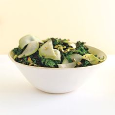 It's amazing how a splash of citrus and a handful of pistachios          can transform a pair of humble          brassicas—kale and kohlrabi          both belong to that genus—into          a bright, fresh, and lively dish. Although this recipe represents the letter k, it could just as easily          have been g, for green. Or great.