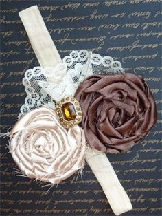 rolled rosette headband Love Mom Boutique