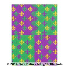 Wrap up for Mardi Gras in this unique fleece blanket which features a festive purple, green, and gold fleurs-de-lis pattern above alternating purple and green blocks. http://www.zazzle.com/mardi_gras_green_gold_and_purple_fleur_de_lis_fleece_blanket-256109893609376568?rf=238083504576446517&tc=20161203_pint_HD #homedecor #bedding #StudioDalio #Zazzle