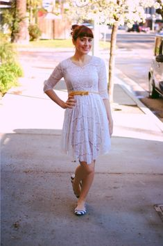 Love the feature!  Ashley of Southern California Belle styles our wedding dress with a twist, turning it into an everyday outfit!