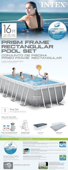 16ft X 8ft X 42in Prism Frame Rectangular Pool Set