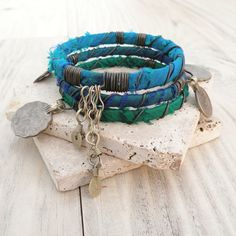 Silk Road Gypsy Bangle Stack, 3 Bohemian Tribal Bracelets, Silk Wrapped, Blue, Green, Turquoise
