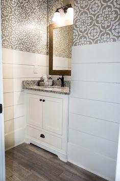 Stenciled Bathroom – My Georgia House Bathroom Wall, Small Bathroom, Bathrooms, Village Houses, Wall Treatments, Double Vanity, Master Bath, Stencils, Georgia