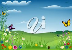 iCLIPART - Clip Art Illustration of a Spring Scene