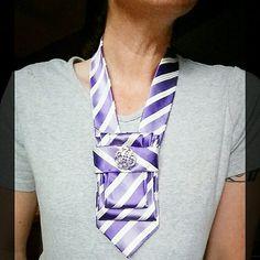 Striped necktie necklace silk tie scarflette ladies suit