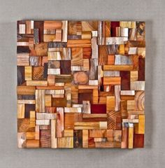 Reclaimed wood art pieces by Olga Oreshnya.  Need to figure out how to do this with all of my scraps leftover from building our house, hardwood floors, and wood trim...