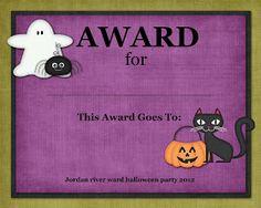 Halloween Costume Contest Award | party ideas | Pinterest ...
