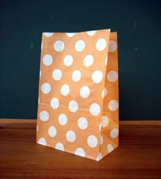 Peach Polka Dot Stand Up Paper Bags -12- Candy Buffet, Party Favor, Wedding Favor - 5 x 7 Flat Bottom Bags on Etsy, $3.60