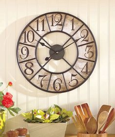 Primitive LARGE Metal and Wood Vintage Antique Look Round Wall Clock