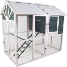 The Precision Pet Sunrise Walk-In Chicken Coop is 6-foot tall and has an access door on each side for easier egg collecting and cleaning. Includes 3 internal nesting boxes, 3 roosting bars, and a pull-out tray for easy cleaning. 8 chicken capacity. Walk In Chicken Coop, Best Chicken Coop, Building A Chicken Coop, Chicken Coops, Pet Beds, Dog Bed, Corrugated Roofing, Pet Chickens, Nesting Boxes