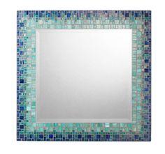 Mosaic Wall Mirror Deep Blue & Teal Square by opusmosaics on Etsy, $309.00