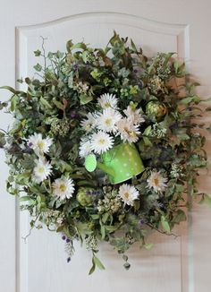 Country Spring/Summer Wreath Artichokes by FloralsFromHome on Etsy Sunflowers And Daisies, Dried Flowers, Xmas Wreaths, Wreaths For Front Door, Country Wreaths, Silk Floral Arrangements, Outdoor Wreaths, Wreath Crafts, Wreath Ideas