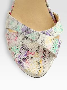 Stuart Weitzman  Multicolored Python-Print Leather Platform Sandals #shoes #style #pinterest #fashion #couture #hautecouture #designer #socialmedia #socialnetworks