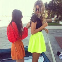 High waisted skirts, with contrasting and bright colours