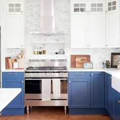 Nice bright blue color for cabinets