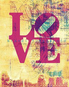 "Love I.   8"" x 10""  Philadelphia Love Park Map Fusion Paintographic Fine Art Print. $20.00, via Etsy."