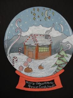 Winter Art - snow globe using construction paper, pencil crayons, paint and glitter