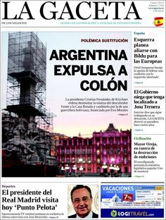 Los Titulares y Portadas de Noticias Destacadas Españolas del 3 de Junio de 2013 del Diario La Gaceta ¿Que le parecio esta Portada de este Diario Español?