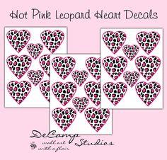 Hot Pink Leopard Print Heart Wall Decals Teen Girls Bedroom Stickers Decor - $12.00 #decampstudios