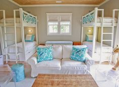 beach house bunk room with turquoise accents