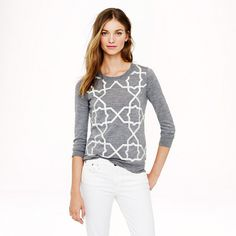 Merino Tippi sweater with tile embroidery - Pullover - Women's sweaters - J.Crew