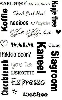 Thee of koffie. The Words, Silhouette Design, Silhouette Cameo, Dutch Words, Happy New Home, Tea Quotes, Afrikaans Quotes, Dutch Quotes, Marianne Design
