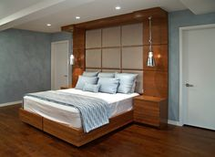 Contemporary built-in cherry bed and headboard contemporary-beds